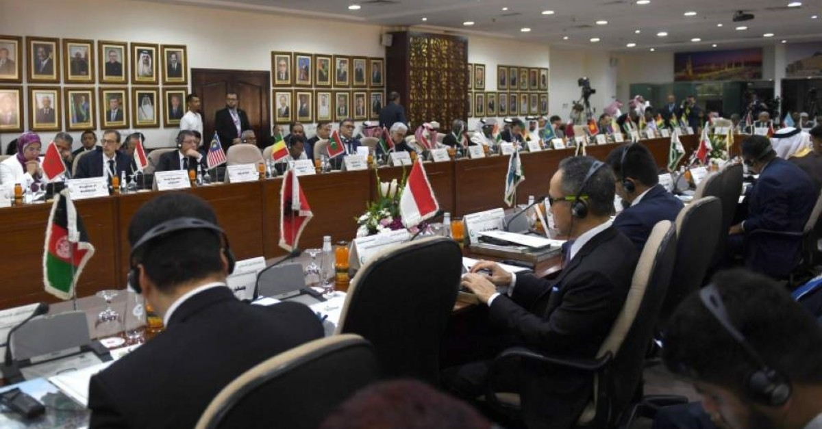 A picture taken on Feb. 3, 2020 shows a general view of the emergency ministerial meeting of the Organisation of Islamic Cooperation (OIC) in the Saudi port city of Jeddah to address U.S. President Donald Trump's Middle East plan. (AFP Photo)