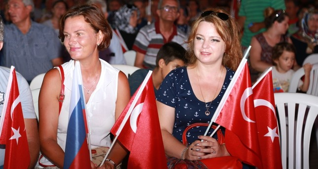 """Russian residents at a """"democracy watch"""" in Antalya."""