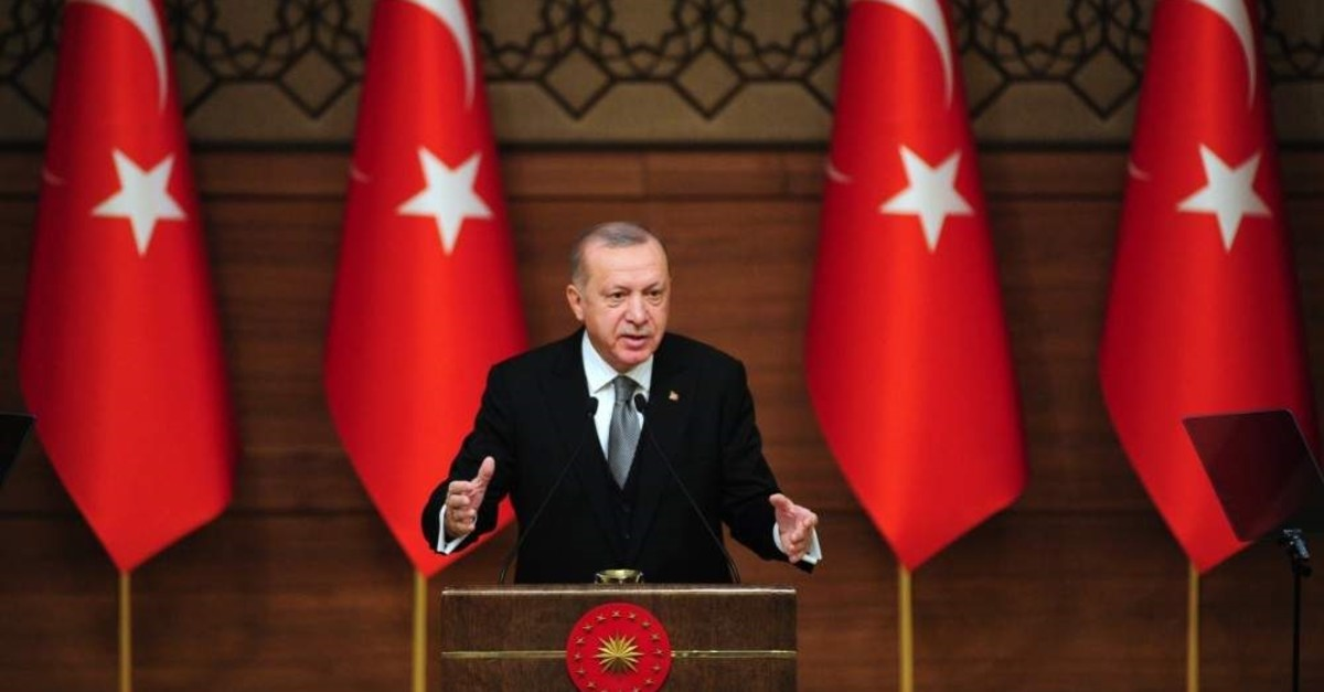 President Recep Tayyip Erdo?an speaks at an urban security symposium at the Presidential Complex in Ankara, Thursday, Jan. 2, 2019. (IHA Photo)
