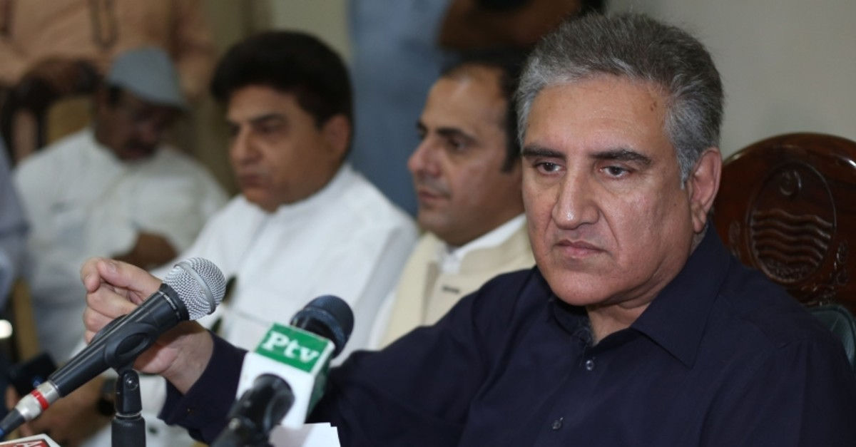 Pakistan's Foreign Minister Shah Mehmood Qureshi addresses a press conference in Multan on April 7, 2019. (AFP Photo)