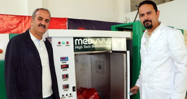 A firm in eastern Turkey's Van province developed a device that disinfects medical waste on-site with microwave technology — the first such device to be used in Turkish hospitals. (DHA Photo)