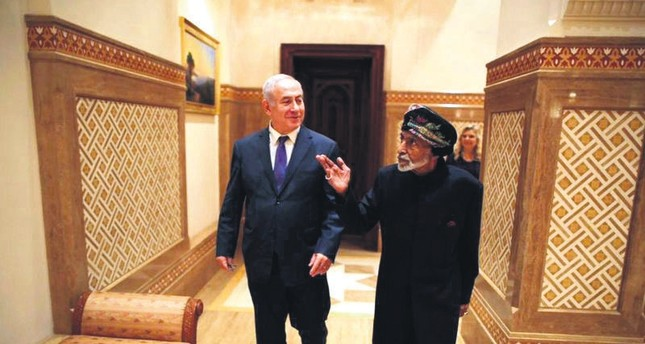 This photo posted on Twitter by Israeli Prime Minister Benjamin Netanyahu's office on Friday, Oct. 26, 2018 shows Netanyahu visiting Sultan Qaboos bin Said in Oman.