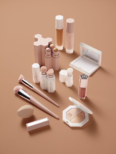 This image released by Fenty Beauty shows the various products for singer Rihanna's new cosmetics line, Fenty Beauty. (AP Photo)
