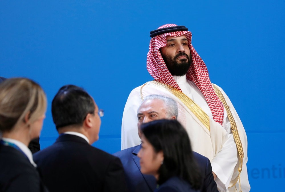 Saudi Crown Prince Mohammed bin Salman looks on as leaders arrive for a family photo at the G20 summit in Buenos Aires, Argentina Nov. 30.