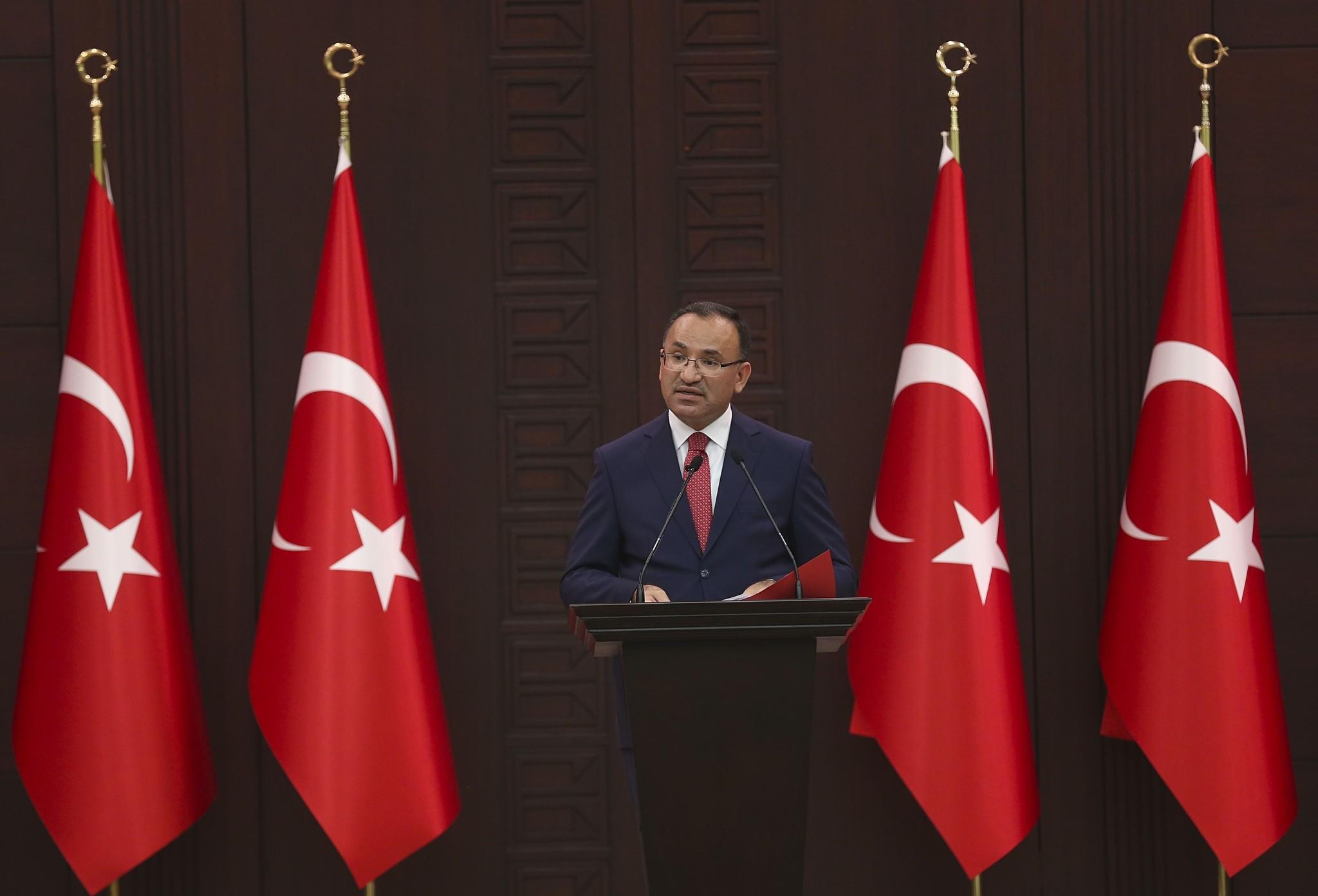 Deputy Prime Minister Bekir Bozdau011f speaks to press following a cabinet meeting on July 24, 2017 in Ankara Turkey. (AA Photo)