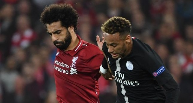 Mohammed Salah of PSG (L) and Neymar of Liverpool.
