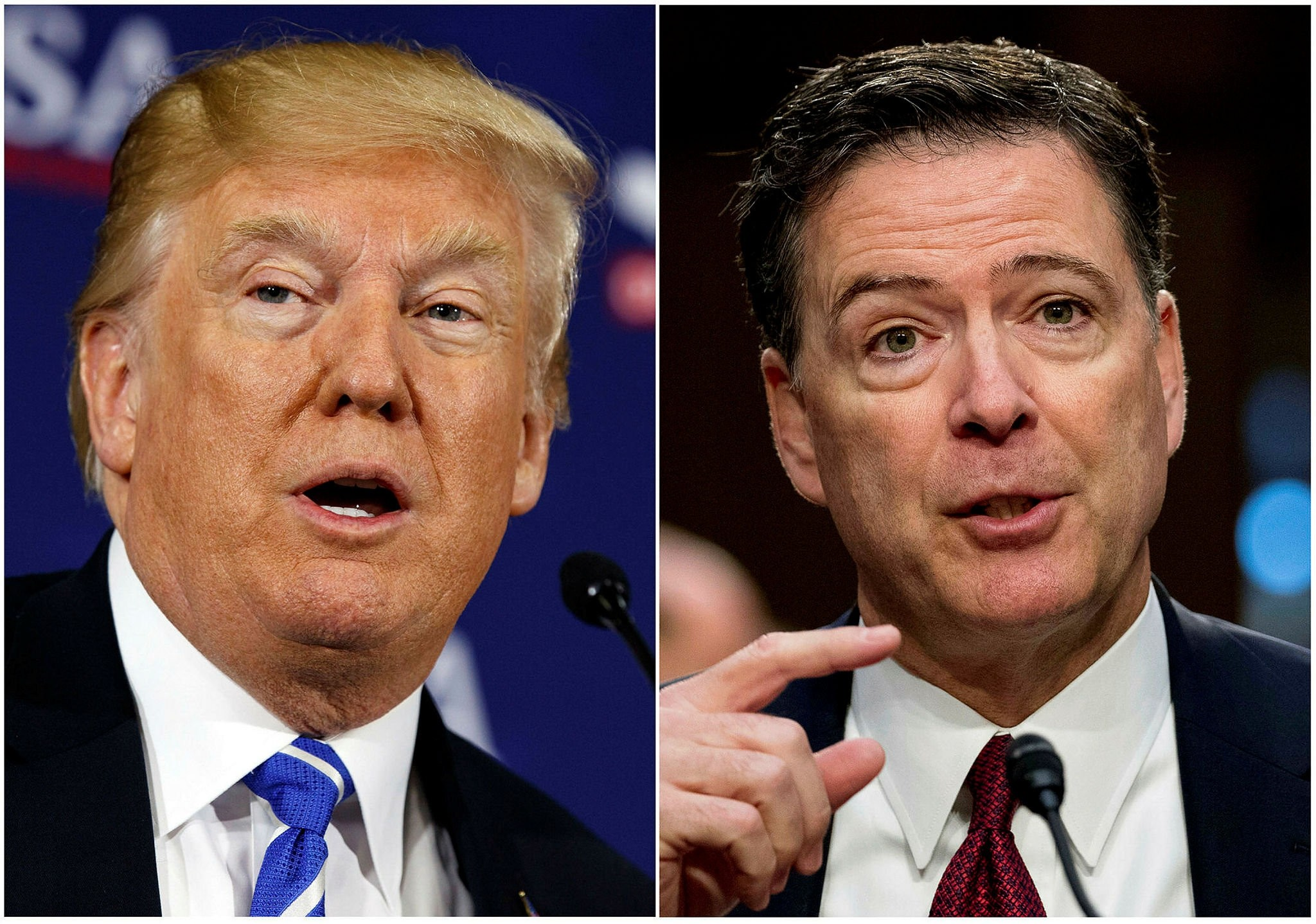 U.S. President Donald Trump (L) and Former FBI director James Comey.