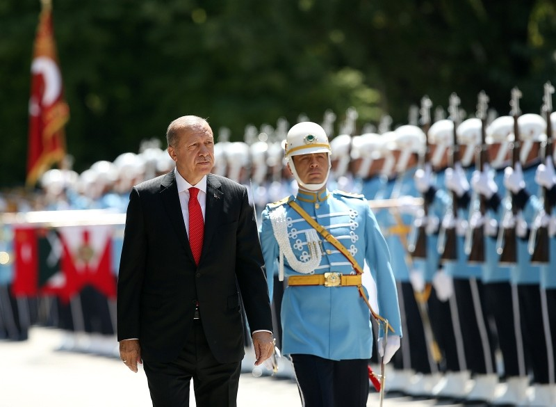 President Recep Tayyip Erdou011fan inspects the ceremonial guard upon his arrival to the Grand National Assembly of Turkey, in Ankara, July 07, 2018. (AA Photo)