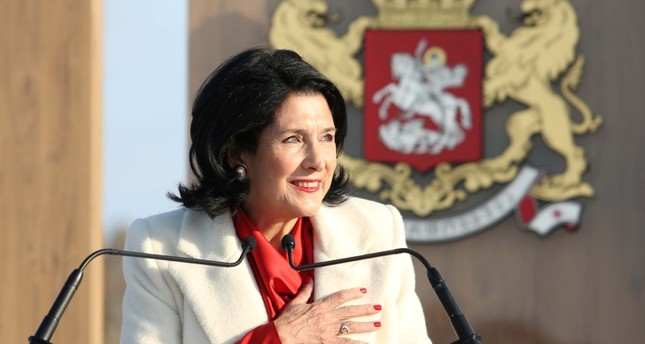 In this handout picture provided by Salome Zurabishvili's press service Georgia's new President Salome Zurabishvili attends her inauguration ceremony in Telavi on December 16, 2018. (AFP Photo)