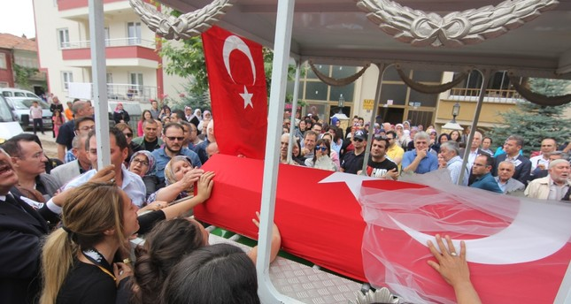 People flocked the streets at the funeral ceremony of the 22-year-old music teacher, Şenay Aybüke Yalçın, who was killed by a PKK terrorist attack in Turkey's southeastern city of Batman where she was appointed to a public school last October.