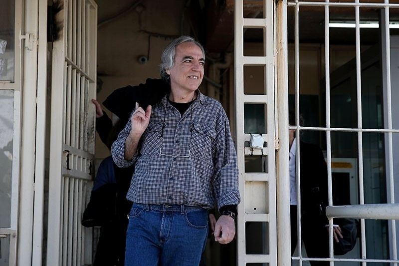 Dimitris Koufodinas, a leading member of guerrilla group November 17, exits Koridallos prison for a two-day leave, in Athens, Greece, November 9, 2017. (Reuters Photo)