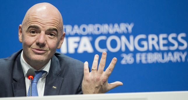 In this Feb. 26, 2016 file photo Swiss Gianni Infantino, then new FIFA President, smiles during the press conference after being elected, at the Extraordinary FIFA Congress 2016 in Zurich, Switzerland. (AP Photo)