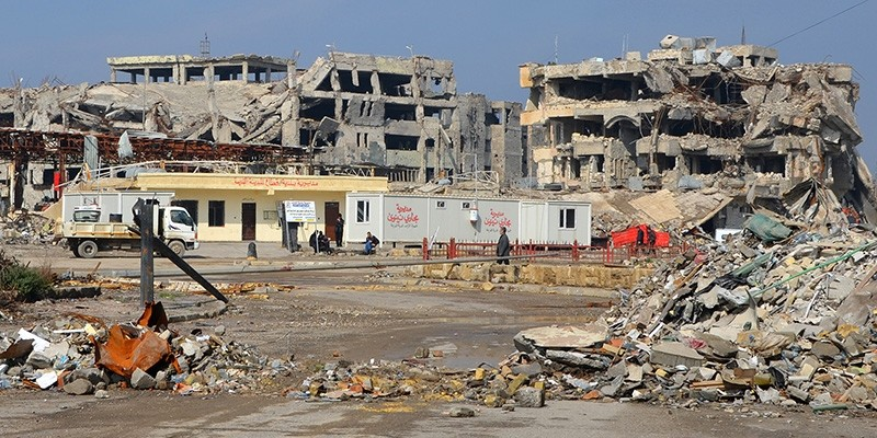 A general view taken on February 14, 2018 shows destruction in the northern Iraqi city of Mosul. (AFP Photo)