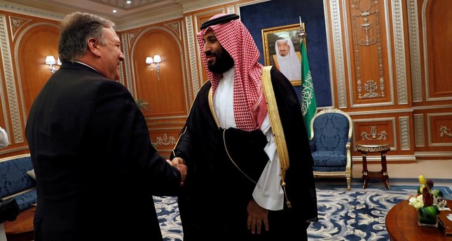 U.S. Secretary of State Mike Pompeo meets with the Saudi Crown Prince Mohammed bin Salman during his visits in Riyadh, Saudi Arabia, October 16, 2018. (Reuters Photo)