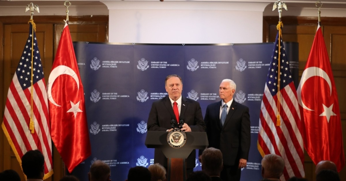 US Vice President Mike Pence (R) and US Secretary of State Mike Pompeo (L) attend a press conference after a meeting with President Erdou011fan, in Ankara, Turkey, on October 17, 2019. (AFP Photo)