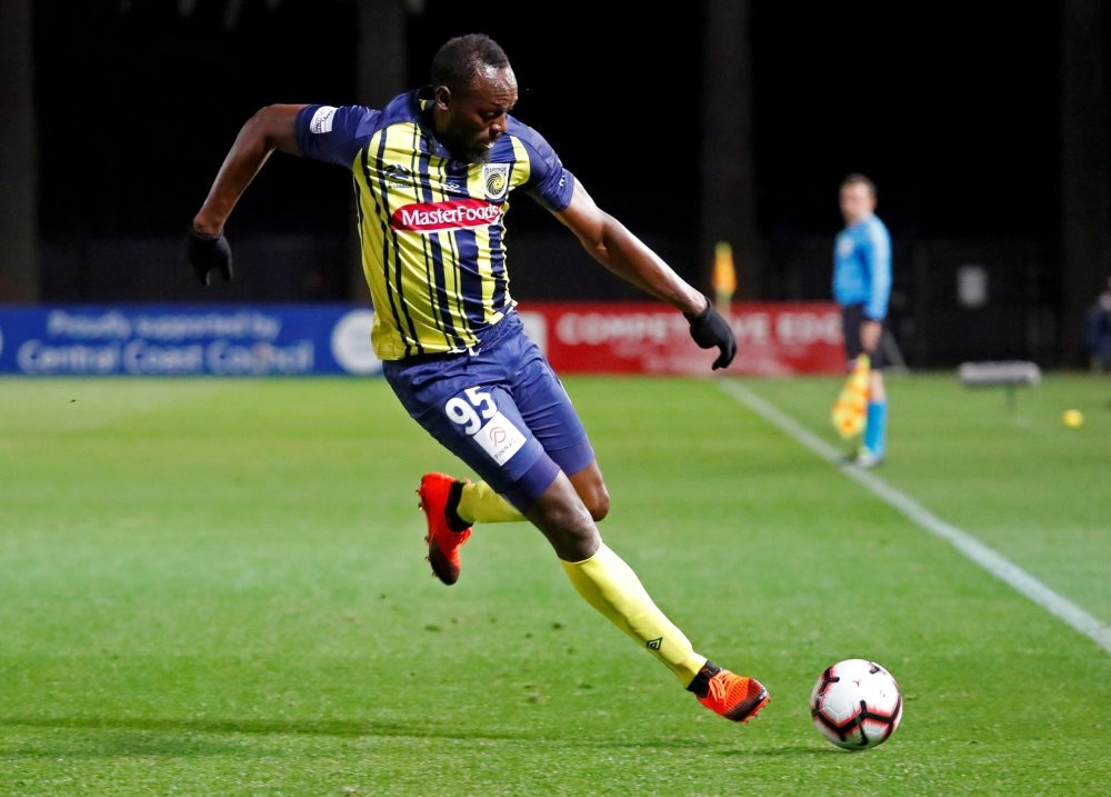 Central Coast Mariners' Usain Bolt in action.