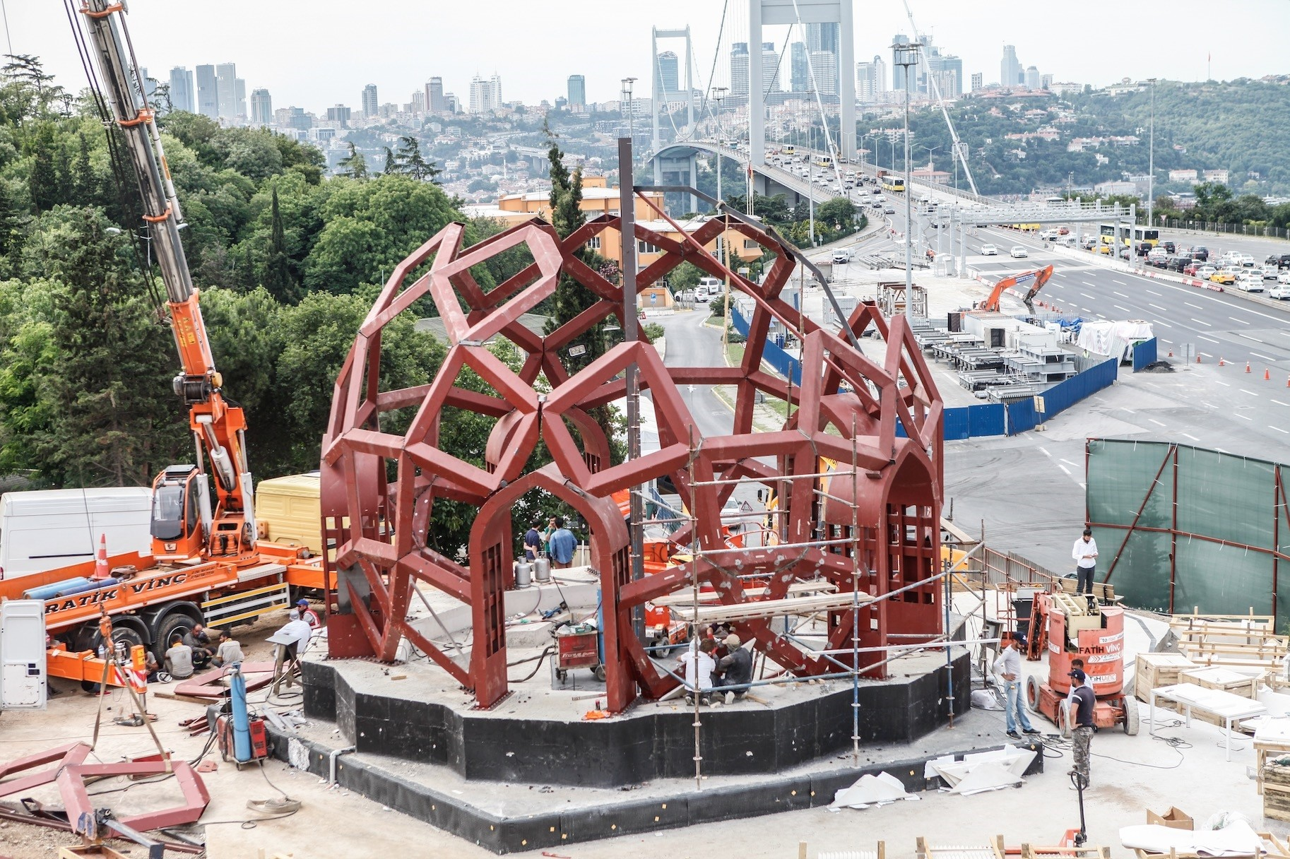 Workers put the final touches on the monument set to open on the first anniversary of the coup attempt.
