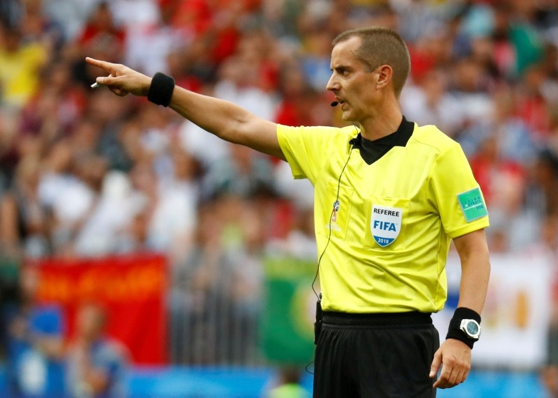Referee Mark Geiger gestures during World Cup Group B match between Morocco and Portugal at the Luzhniki Stadium, Moscow, Russia, June 20, 2018. (Reuters Photo)