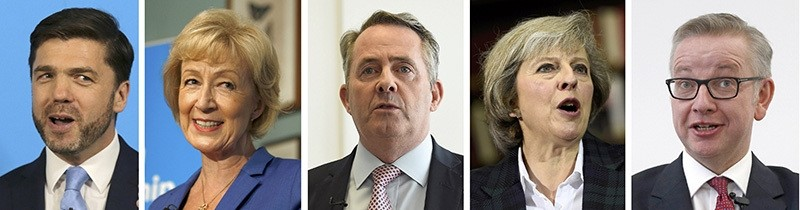 The candidates in the Conservative party leadership contest, (L-R) Stephen Crabb, Andrea Leadsom, Liam Fox, Theresa May and Michael Gove, are seen in this combination of five photographs, released in London, Britain July 5, 2016. (Reuters Photo)