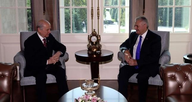 Devlet Bahçeli and PM Yıldırım met at the Çankaya Palace on Monday.