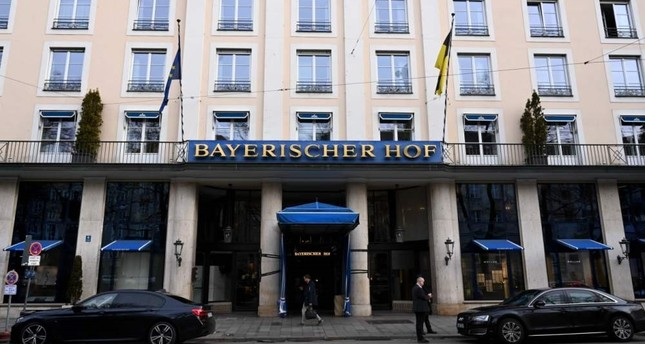 The entrance of the Hotel Bayerischer Hof, the venue of the 56th Munich Security Conference is pictured, Munich, Feb. 13, 2020. AFP Photo