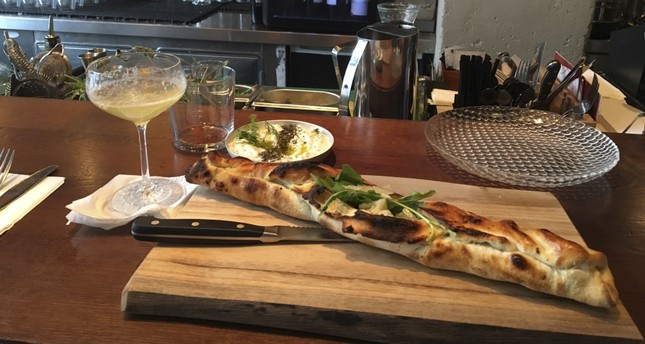 """The Pide Bianca Abdul Rachman is a tantalizing item on the menu at Onza, wonderful with """"cacık."""""""