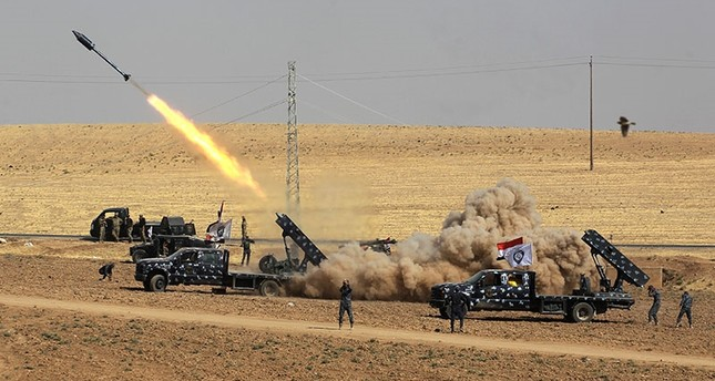A picture taken on Oct. 26, 2017 shows rockets being launched from Iraqi security forces' against Peshmerga positions in the area of Faysh Khabur, which is located on the Turkish and Syrian borders in the KRG region (AFP Photo)