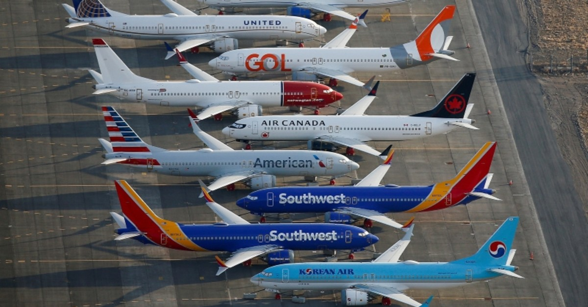 An aerial photo shows Boeing 737 MAX aircraft at Boeing facilities at the Grant County International Airport in Moses Lake, Washington, Sept. 16, 2019. (Reuters Photo)