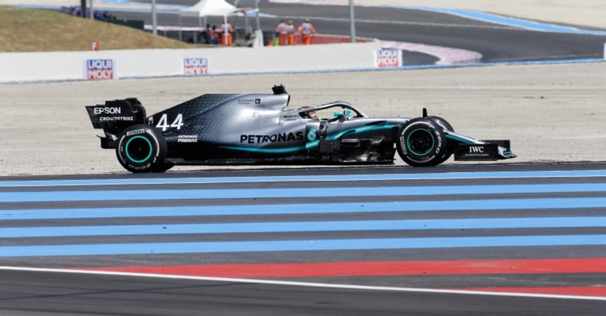 Mercedes driver Lewis Hamilton of Britain steers his car during the French Formula One Grand Prix at the Paul Ricard racetrack in Le Castellet, southern France, Sunday, June 23, 2019. (AP Photo)