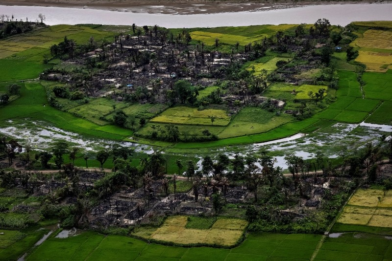 The remains of a burned Rohingya village is seen in this aerial photograph near Maungdaw, north of Rakhine State, Myanmar Sep. 27, 2017. (Reuters Photo)