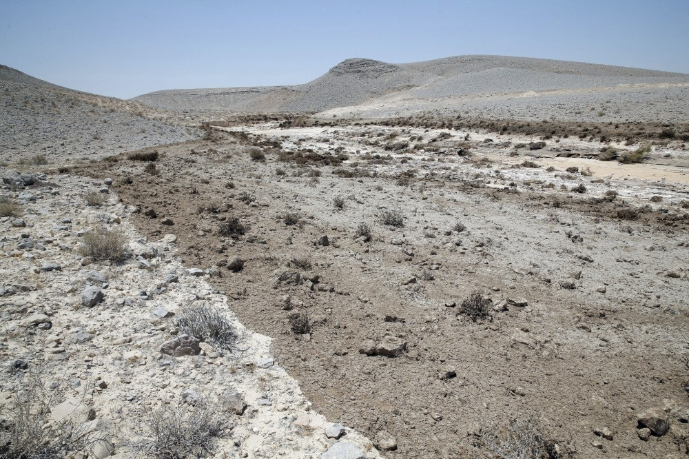 Residue of toxic wastewater in the Ashalim Riverbed in Mishor Rotem, Israel.
