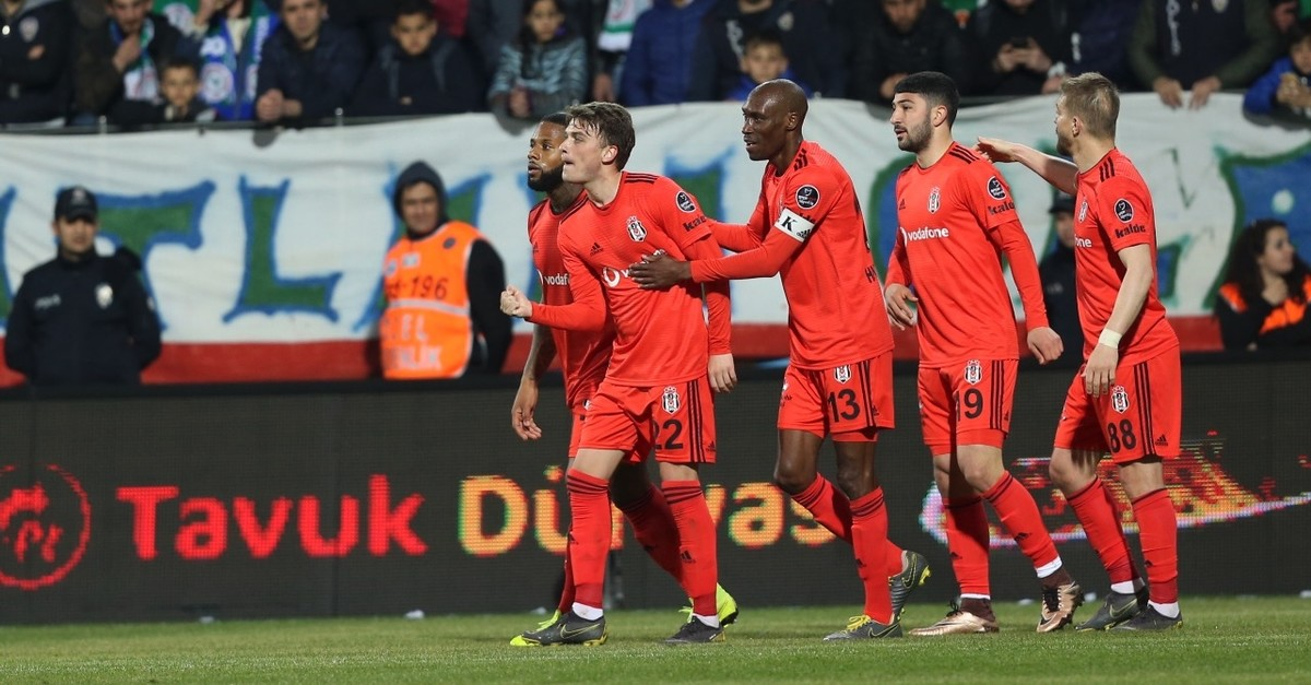 Beu015fiktau015f players cheer after a goal against u00c7aykur Rizespor, April 9, 2019.