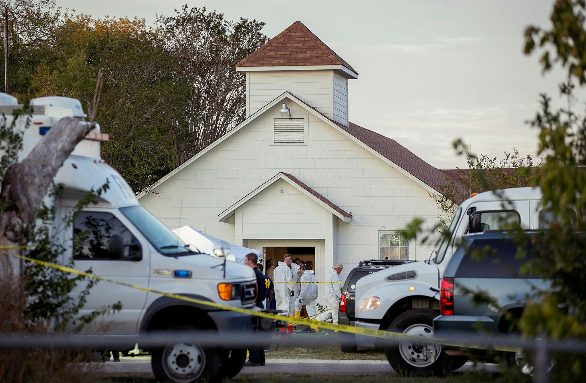 Investigators work at the scene of a deadly shooting at the First Baptist Church in Sutherland Springs, Texas, Nov. 5.