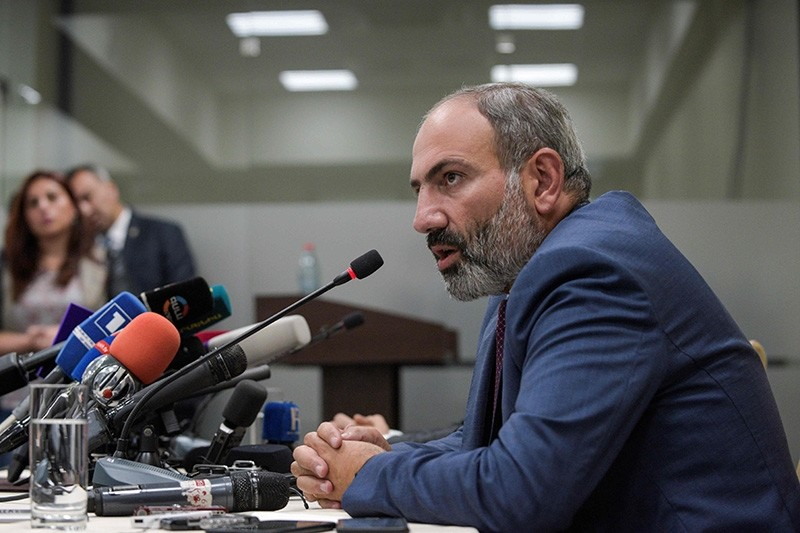 Armenian Prime Minister Nikol Pashinian gives a news conference on May 9, 2018, in Stepanakert, the capital of Azerbaijan's breakaway Nagorny Karabakh region. (AFP Photo)