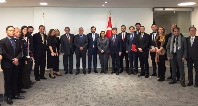 Filipino Traden and Industry Minister Ramon Lopez (C), accompaned by a delegation of business people held a roundtable meeting organized by Foreign Economic Relations Board (DEİK) Philippnes Business Council Chair İlkem Şahin (C-R).