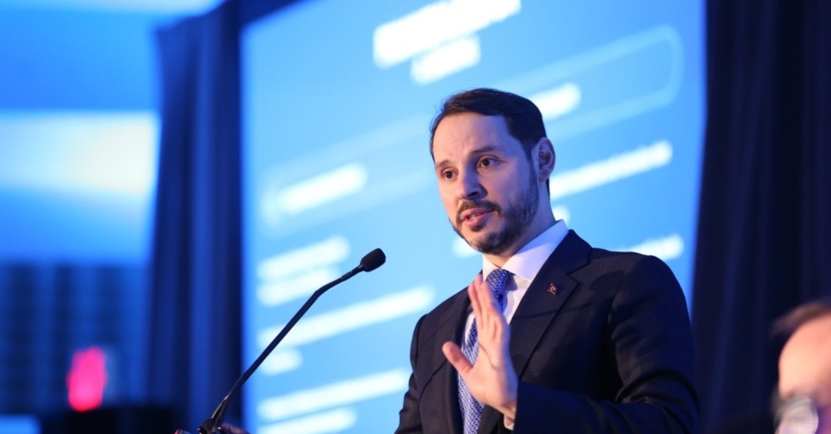 Treasury and Finance Minister Berat Albayrak presents Turkey's new reform package at a meeting with international investors, Wasghington D.C., April 11, 2019.