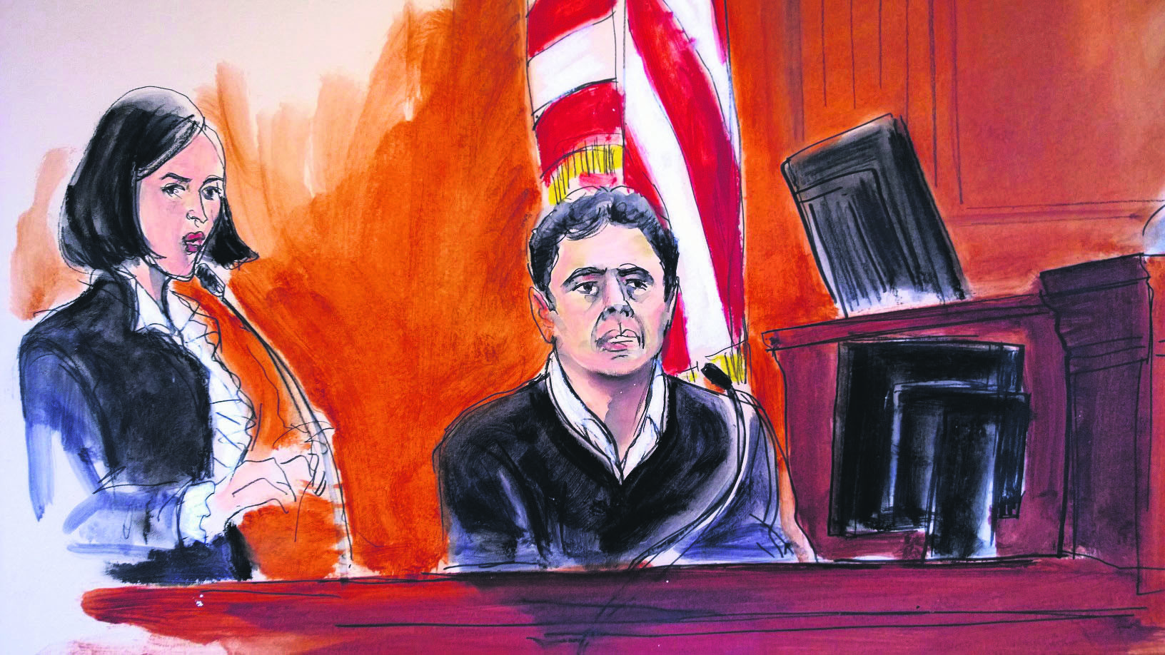 In this Dec. 15, 2017 courtroom artist's sketch, Atilla, (R), testifies during his trial on the Iran sanctions case in New York.  He was accused of helping Iran evade U.S. sanctions and was found guilty on Wednesday.