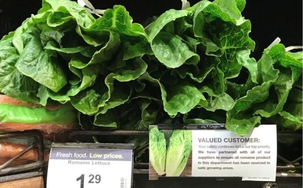 Romaine lettuce accompanied by an indication that it has been 'sourced in safe growing areas' is displayed at a super market in Los Angeles, California, May 4, 2018 (EPA Photo)