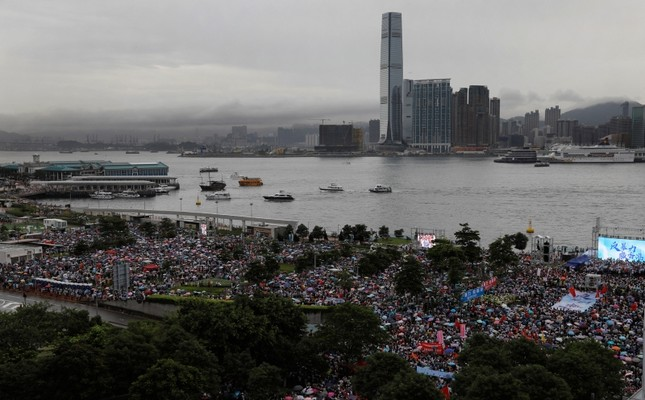 Pro-China supporters attend a rally to support police and anti-violence at a park in Hong Kong Saturday, Aug. 17, 2019. (AP Photo)