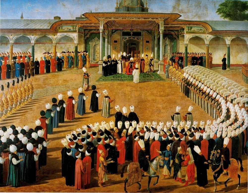 A painting depicting court members waiting to appear before the Ottoman sultan in the courtyard of the Topkapu0131 Palace.