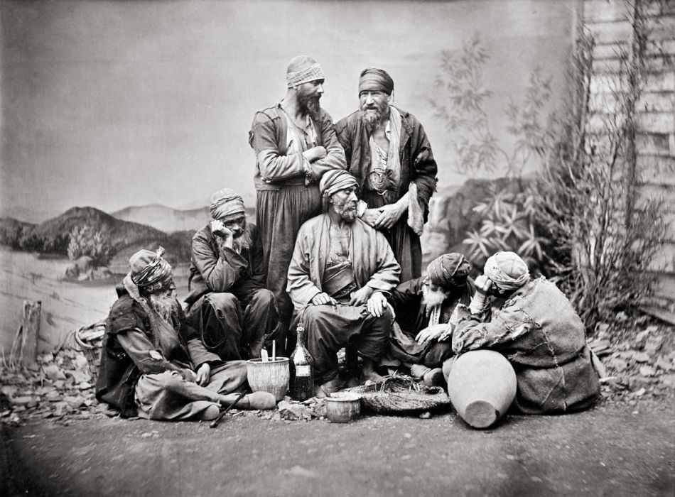 Ottoman Jews posing for the camera in 19th century Istanbul.