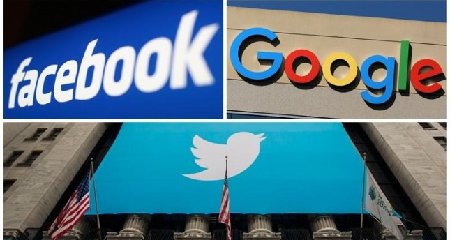 Logos of US tech giants Facebook, Google and Twitter (Reuters Photo)