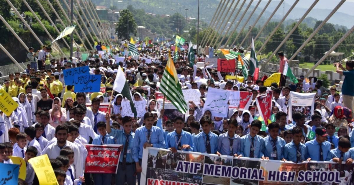 Pakistani students rally to express solidarity with Indian Kashmiris, in Muzaffarabad, capital of Pakistani Kashmir, Tuesday, Aug. 27, 2019. (AP Photo)