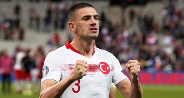 Turkey's Merih Demiral celebrates after a match against France, Saint-Denis, Oct. 14, 2019 (Reuters Photo)