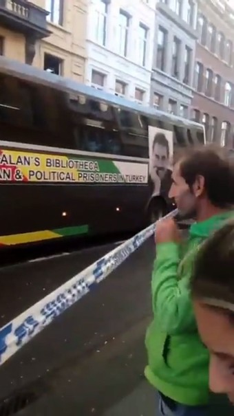 PKK propaganda bus displaying photo of the terrorist groups imprisoned leader Abdullah Öcalan