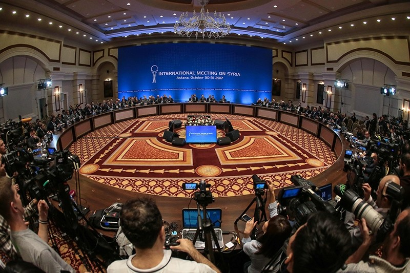 Representatives of the Assad regime and Syrian opposition groups along with other attendees take part in the session of Syria peace talks, Astana, Kazakhstan, Oct. 31, 2017. (AFP Photo)