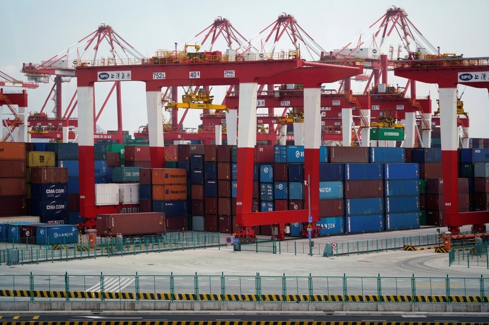 Containers at the Yangshan Deep Water Port, part of the Shanghai Free Trade Zone, Shanghai, China.