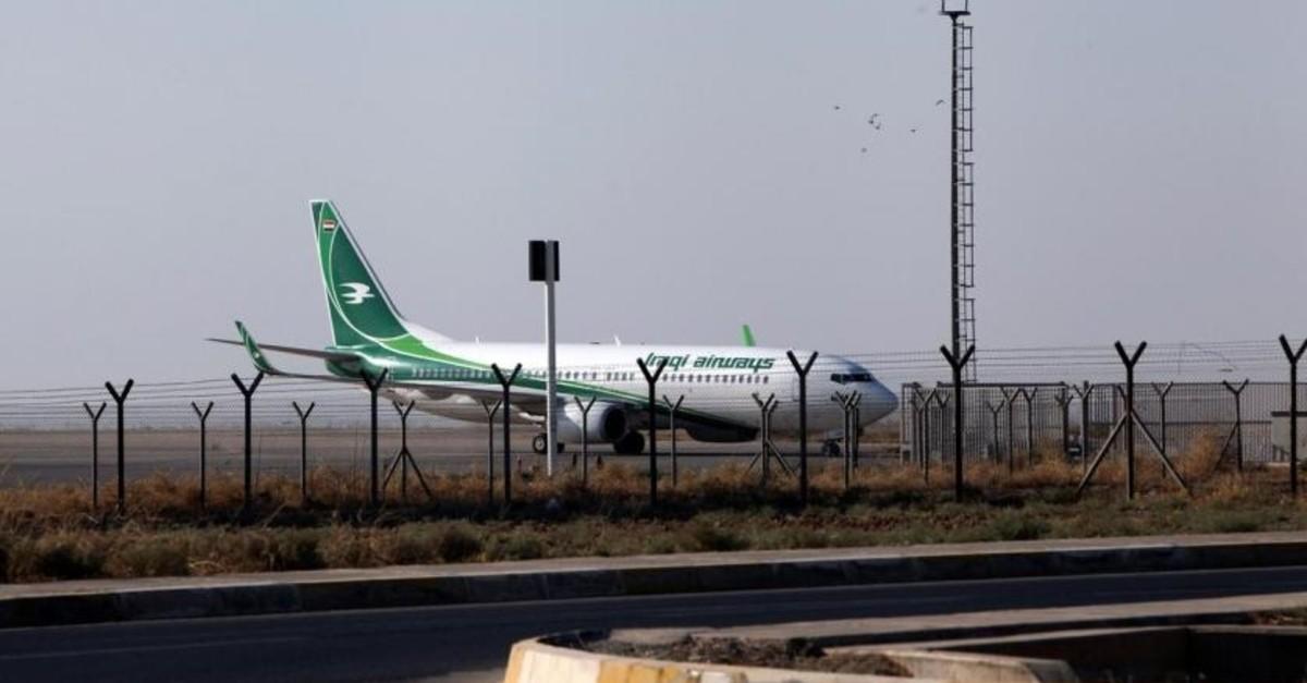 An Iraqi Airways plane is seen at the Erbil International Airport in Erbil, Iraq September 29, 2017 (Reuters Photo)