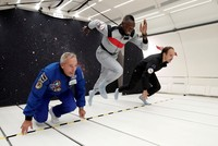 Bolt proves he's fastest man on earth and space in zero-gravity race above France skies