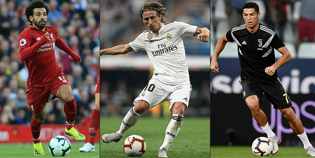 Combination of pictures shows (LtoR) Liverpool's Egyptian midfielder Mohamed Salah on Aug. 25, 2018, Real Madrid's Croatian midfielder Luka Modric on Sept. 1, 2018, and Juventus' Portuguese forward Cristiano Ronaldo on Sept. 1, 2018. (AFP Photo)